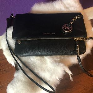 Michael Kors Clutch Purse Gold Leather Chain